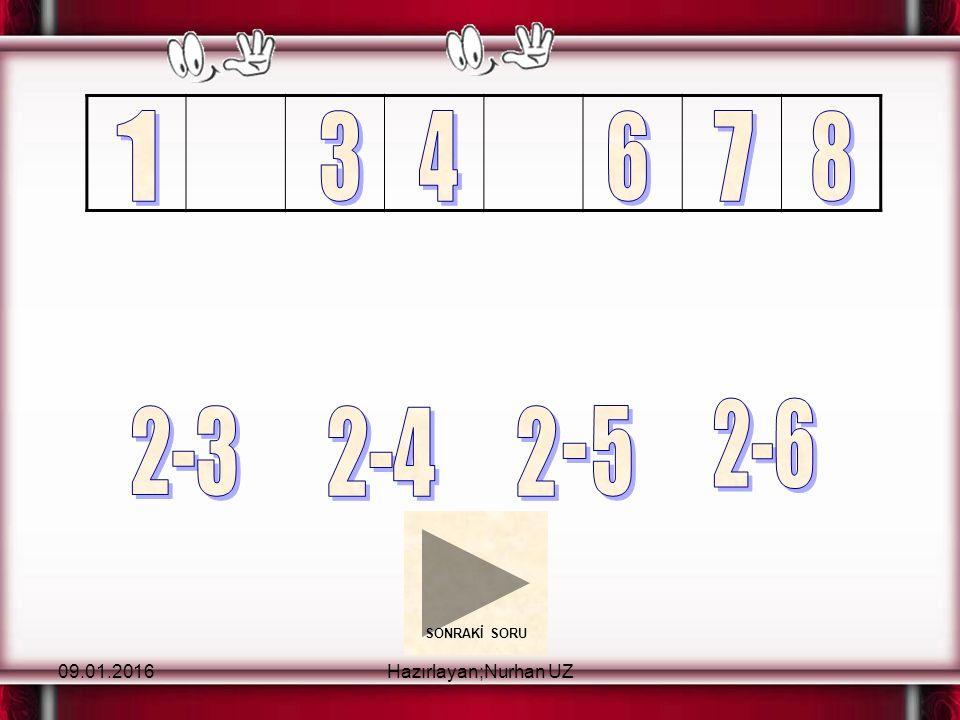 09.01.2016Hazırlayan;Nurhan UZ Beni tıkla Doğrusu bu Hayır beniHayır, bu Yukarıdaki örüntüde boş bırakılan yere hangi sayı getirilmelidir?
