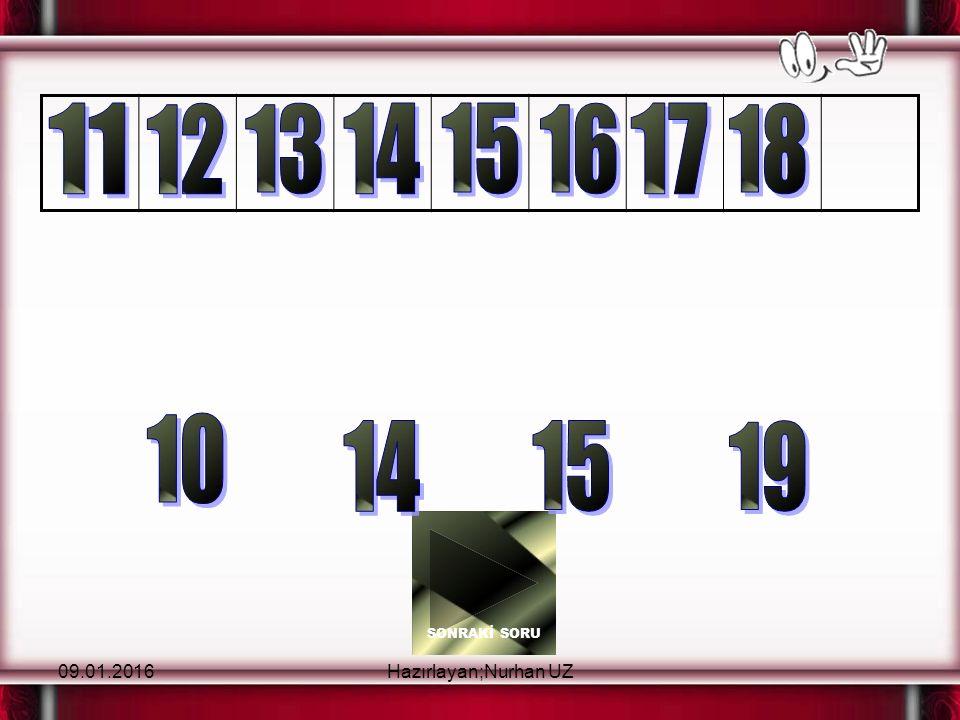 09.01.2016Hazırlayan;Nurhan UZ Beni tıklaDoğrusu bu Hayır beniHayır, bu Yukarıdaki örüntüde boş bırakılan yere hangi sayı getirilmelidir?