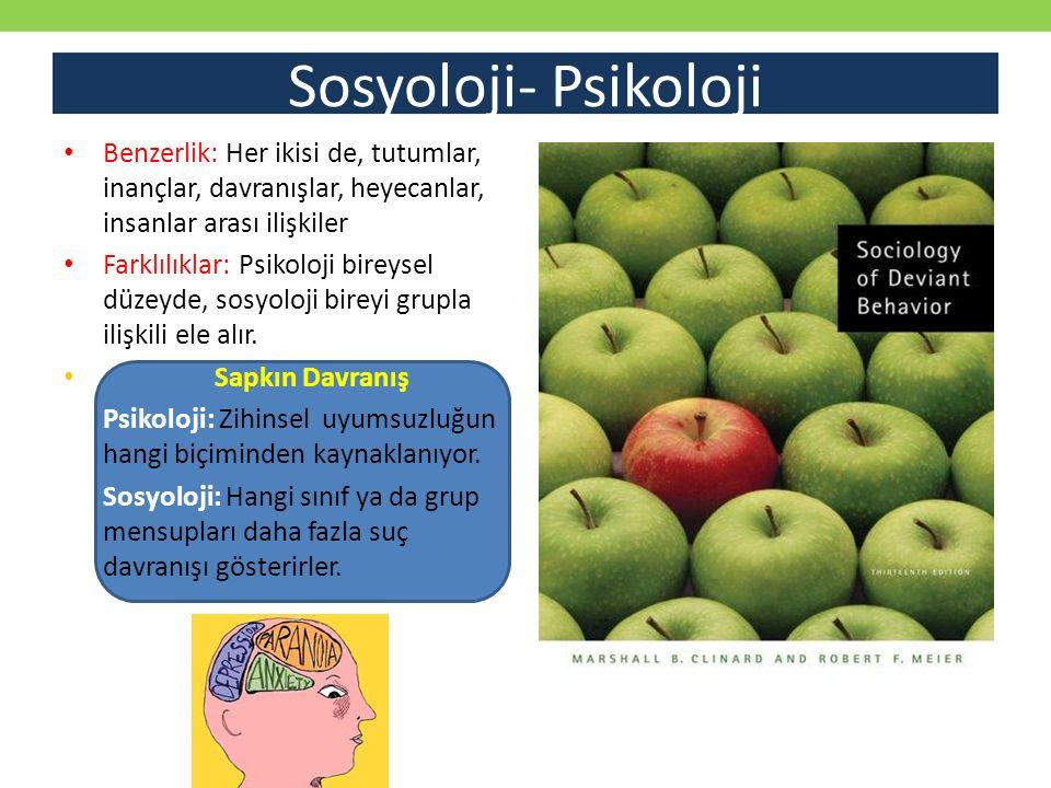 Sosyoloji- Psikoloji Benzerlik: Her ikisi de, tutumlar, inançlar, davranışlar, heyecanlar, insanlar arası ilişkiler Farklılıklar: Psikoloji bireysel d