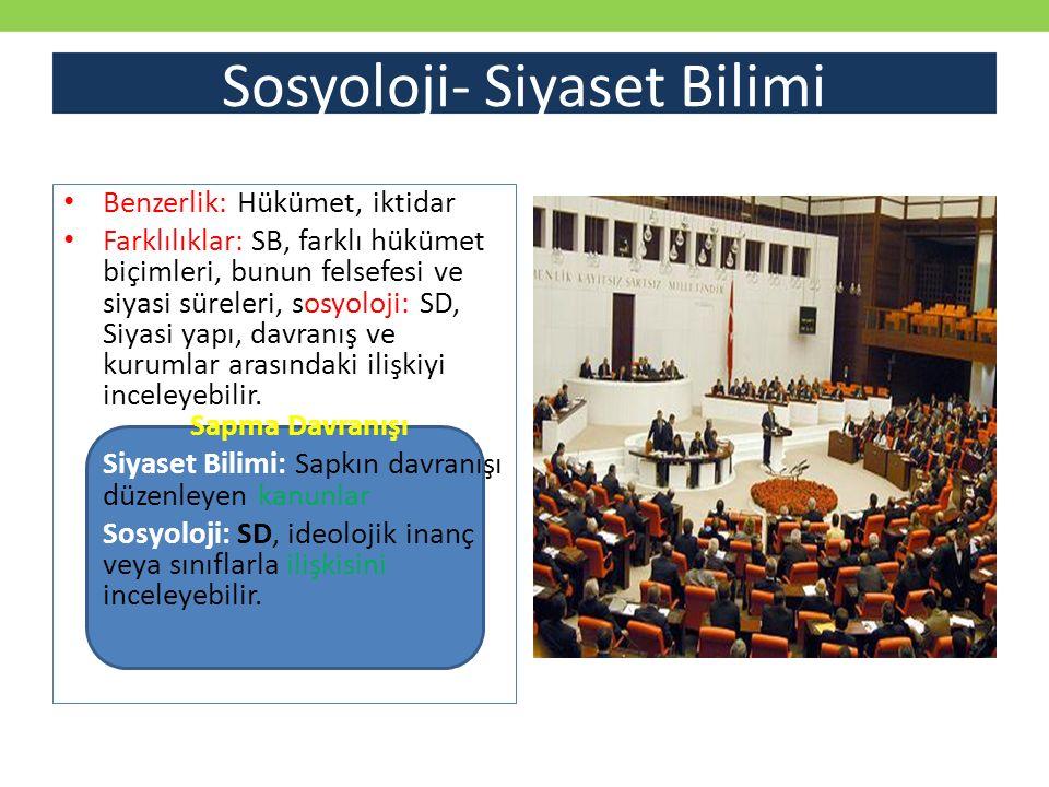 Sosyoloji- Siyaset Bilimi Benzerlik: Hükümet, iktidar Farklılıklar: SB, farklı hükümet biçimleri, bunun felsefesi ve siyasi süreleri, sosyoloji: SD, S