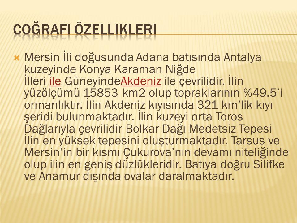  Mersin İli doğusunda Adana batısında Antalya kuzeyinde Konya Karaman Niğde İlleri ile GüneyindeAkdeniz ile çevrilidir. İlin yüzölçümü 15853 km2 olup