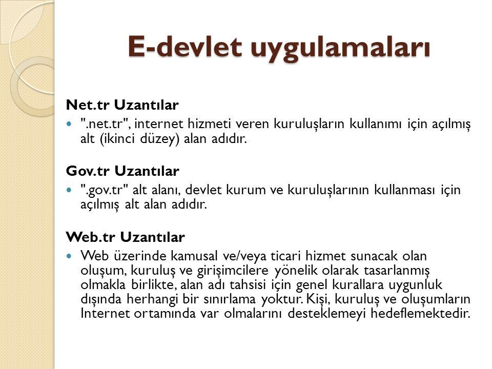 E-devlet uygulamaları Net.tr Uzantılar
