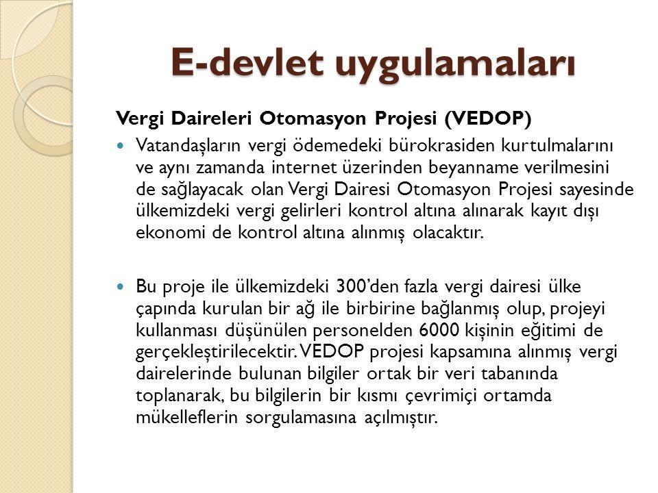 E-devlet uygulamaları Vergi Daireleri Otomasyon Projesi (VEDOP) Vatandaşların vergi ödemedeki bürokrasiden kurtulmalarını ve aynı zamanda internet üze