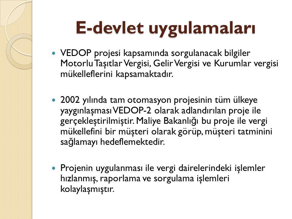 E-devlet uygulamaları VEDOP projesi kapsamında sorgulanacak bilgiler Motorlu Taşıtlar Vergisi, Gelir Vergisi ve Kurumlar vergisi mükelleflerini kapsamaktadır.