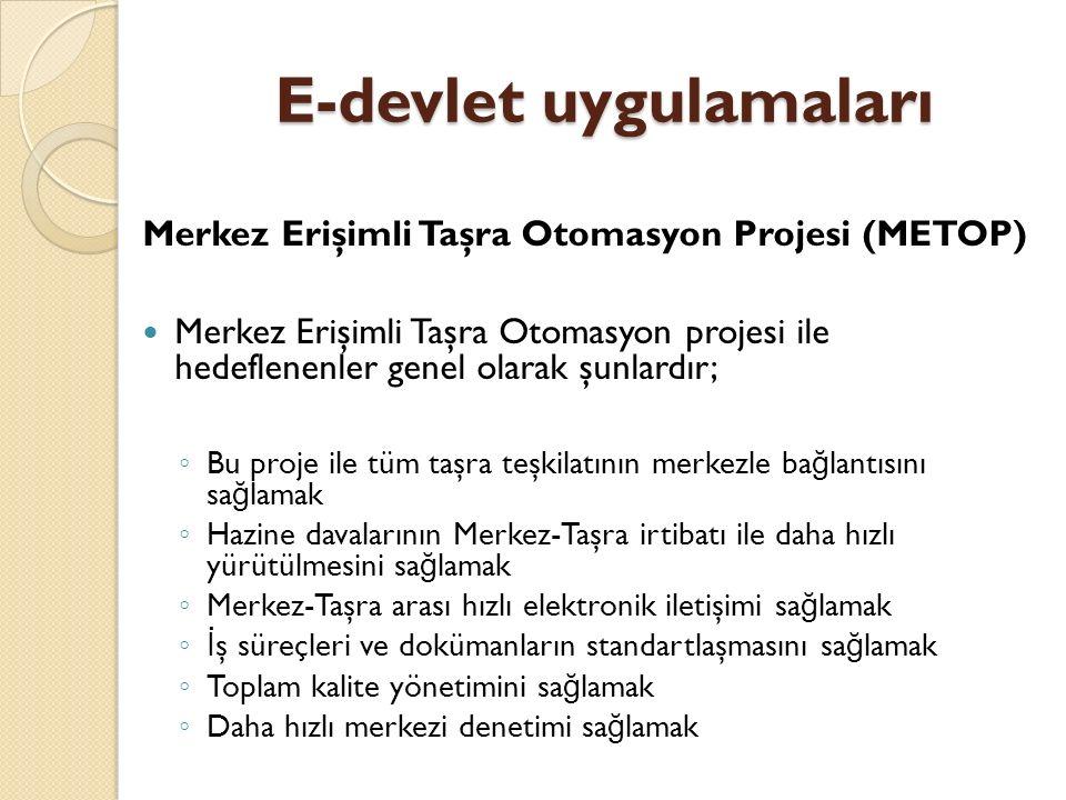 E-devlet uygulamaları Merkez Erişimli Taşra Otomasyon Projesi (METOP) Merkez Erişimli Taşra Otomasyon projesi ile hedeflenenler genel olarak şunlardır
