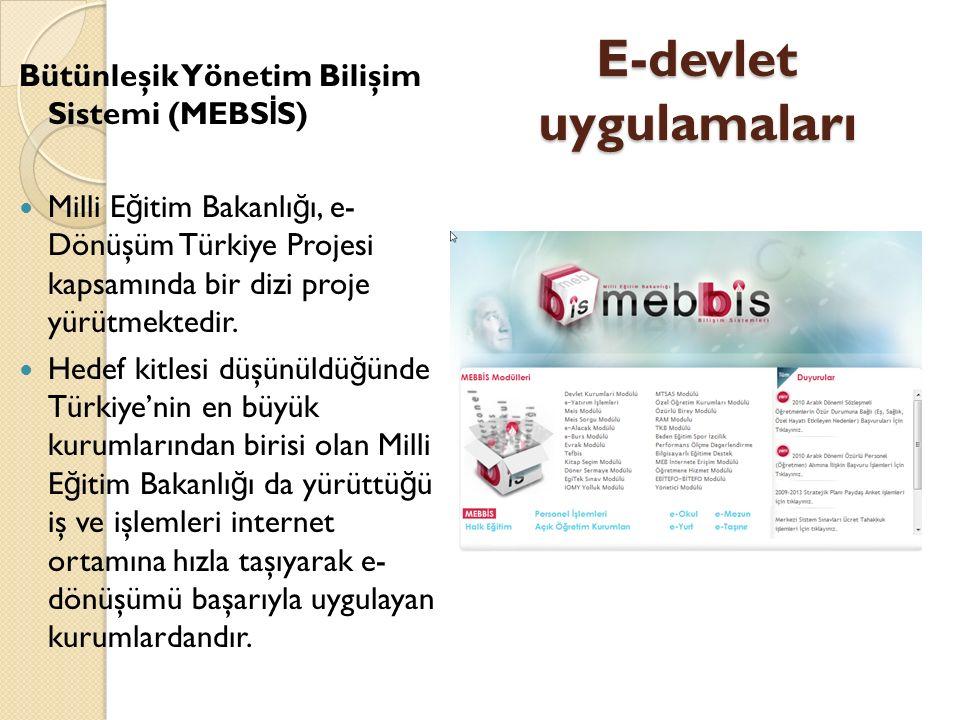 E-devlet uygulamaları Bütünleşik Yönetim Bilişim Sistemi (MEBS İ S) Milli E ğ itim Bakanlı ğ ı, e- Dönüşüm Türkiye Projesi kapsamında bir dizi proje yürütmektedir.