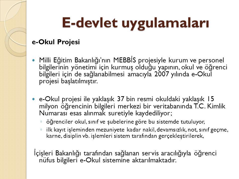 E-devlet uygulamaları e-Okul Projesi Milli E ğ itim Bakanlı ğ ı'nın MEBB İ S projesiyle kurum ve personel bilgilerinin yönetimi için kurmuş oldu ğ u yapının, okul ve ö ğ renci bilgileri için de sa ğ lanabilmesi amacıyla 2007 yılında e-Okul projesi başlatılmıştır.