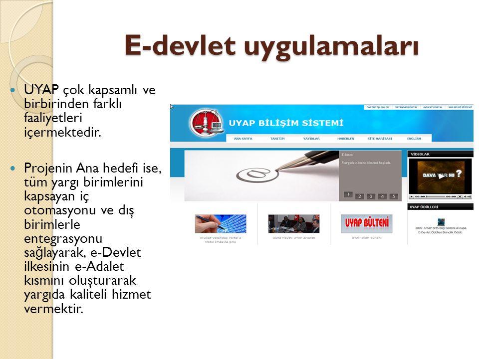 E-devlet uygulamaları UYAP çok kapsamlı ve birbirinden farklı faaliyetleri içermektedir.
