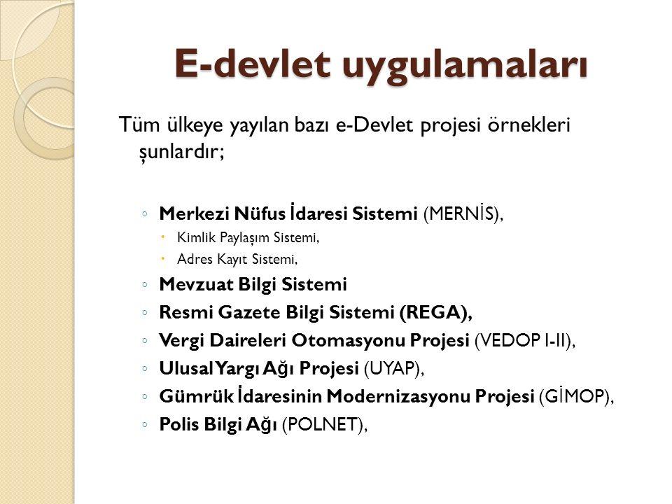 E-devlet uygulamaları Tüm ülkeye yayılan bazı e-Devlet projesi örnekleri şunlardır; ◦ Merkezi Nüfus İ daresi Sistemi (MERN İ S),  Kimlik Paylaşım Sistemi,  Adres Kayıt Sistemi, ◦ Mevzuat Bilgi Sistemi ◦ Resmi Gazete Bilgi Sistemi (REGA), ◦ Vergi Daireleri Otomasyonu Projesi (VEDOP I-II), ◦ Ulusal Yargı A ğ ı Projesi (UYAP), ◦ Gümrük İ daresinin Modernizasyonu Projesi (G İ MOP), ◦ Polis Bilgi A ğ ı (POLNET),