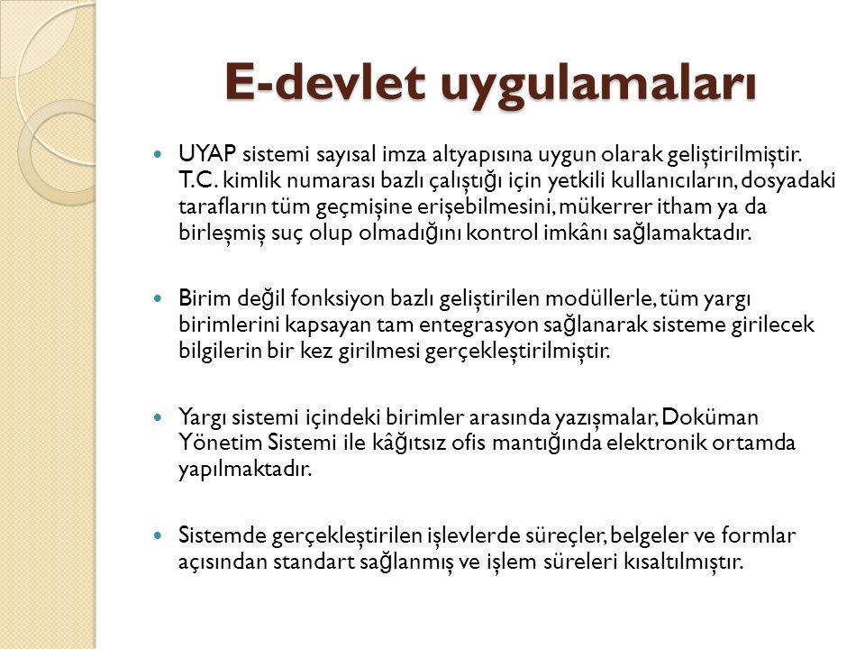 E-devlet uygulamaları UYAP sistemi sayısal imza altyapısına uygun olarak geliştirilmiştir.