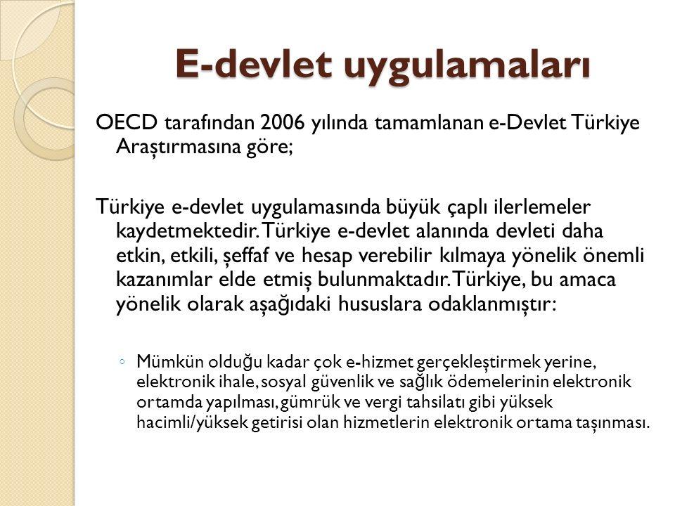 E-devlet uygulamaları OECD tarafından 2006 yılında tamamlanan e-Devlet Türkiye Araştırmasına göre; Türkiye e-devlet uygulamasında büyük çaplı ilerleme