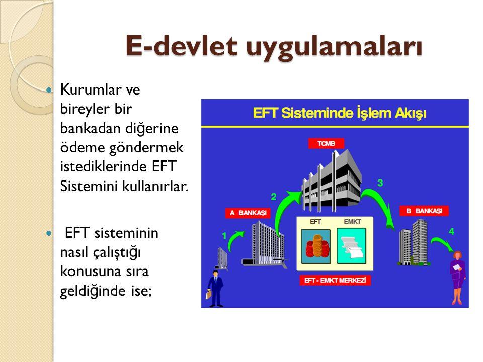E-devlet uygulamaları Kurumlar ve bireyler bir bankadan di ğ erine ödeme göndermek istediklerinde EFT Sistemini kullanırlar. EFT sisteminin nasıl çalı