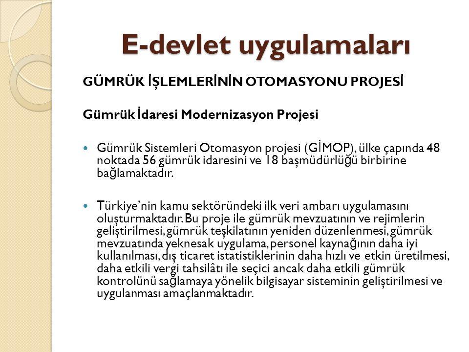 E-devlet uygulamaları GÜMRÜK İ ŞLEMLER İ N İ N OTOMASYONU PROJES İ Gümrük İ daresi Modernizasyon Projesi Gümrük Sistemleri Otomasyon projesi (G İ MOP)