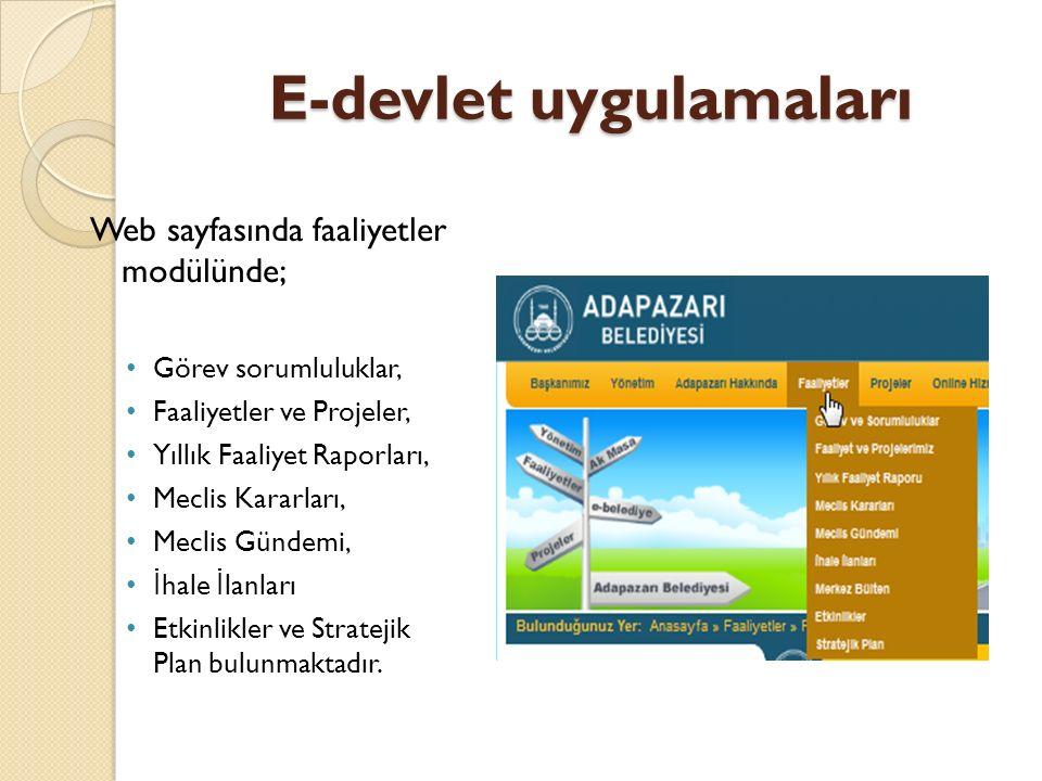 E-devlet uygulamaları Web sayfasında faaliyetler modülünde; Görev sorumluluklar, Faaliyetler ve Projeler, Yıllık Faaliyet Raporları, Meclis Kararları,