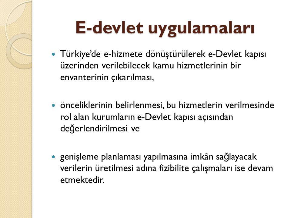 E-devlet uygulamaları Türkiye'de e-hizmete dönüştürülerek e-Devlet kapısı üzerinden verilebilecek kamu hizmetlerinin bir envanterinin çıkarılması, önceliklerinin belirlenmesi, bu hizmetlerin verilmesinde rol alan kurumların e-Devlet kapısı açısından de ğ erlendirilmesi ve genişleme planlaması yapılmasına imkân sa ğ layacak verilerin üretilmesi adına fizibilite çalışmaları ise devam etmektedir.
