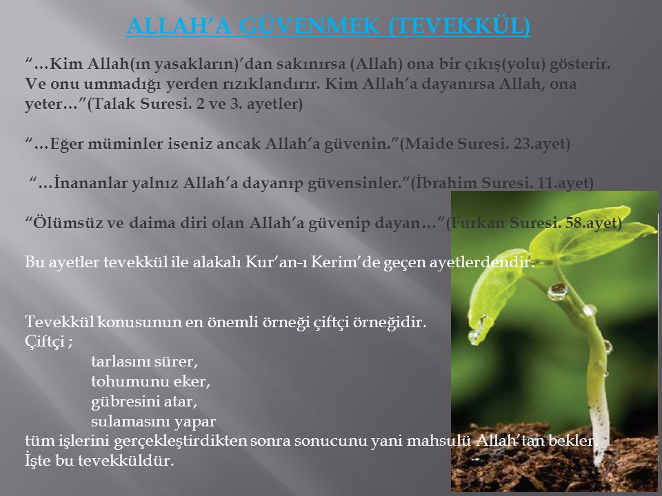 ALLAH'A GÜVENMEK (TEVEKKÜL) Gerekli tedbirleri aldıktan sonra Allah'a dayanıp güvenmek gerekir.
