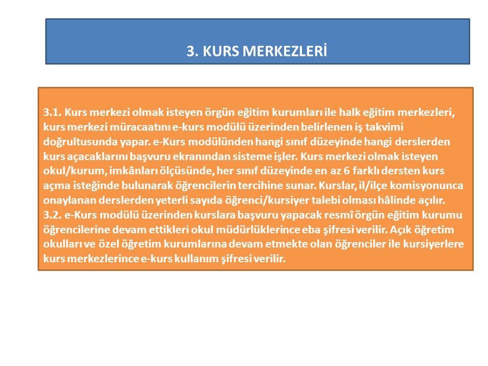 3.KURS MERKEZLERİ 3.1.
