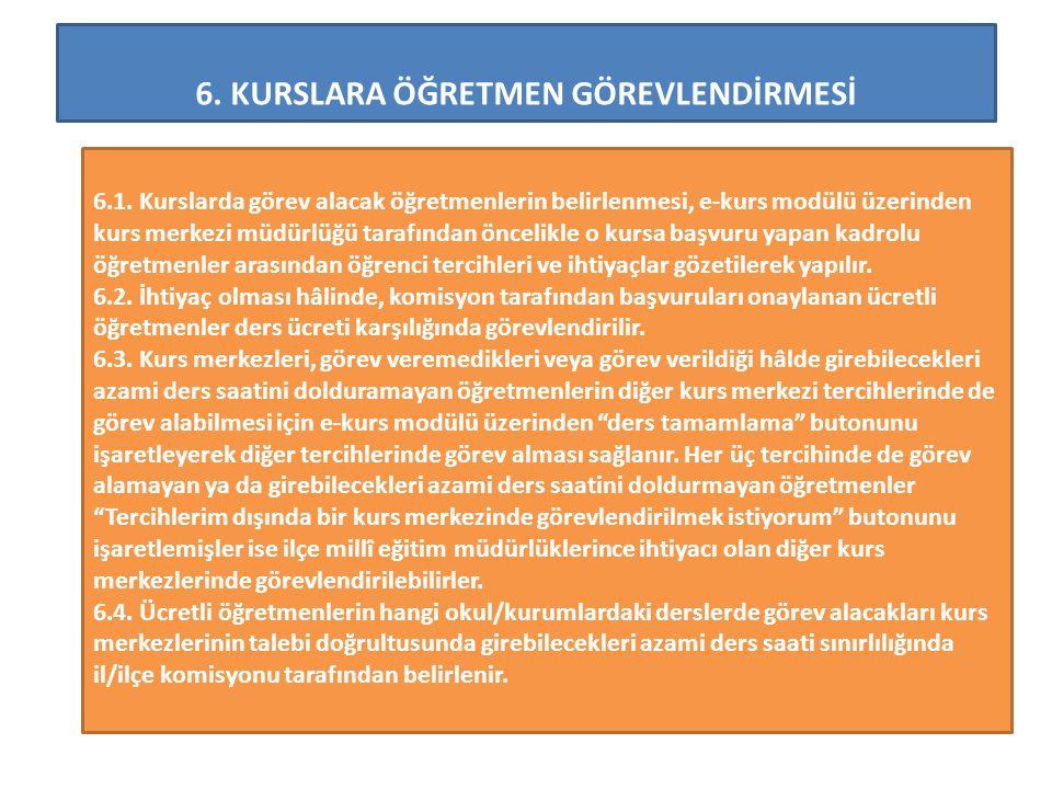 6.KURSLARA ÖĞRETMEN GÖREVLENDİRMESİ 6.1.