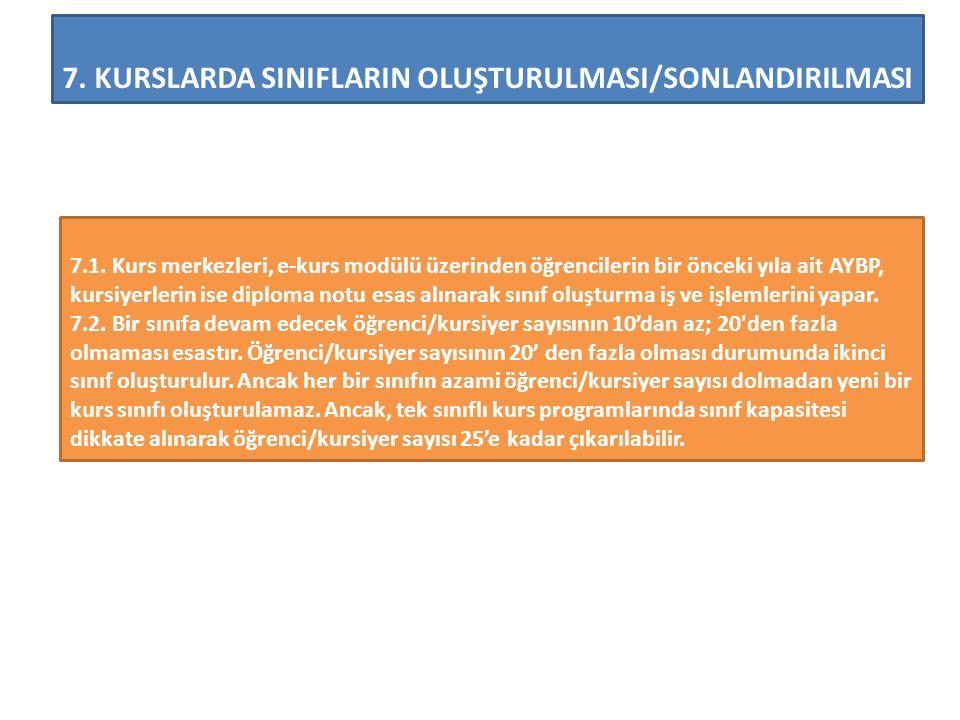 7.KURSLARDA SINIFLARIN OLUŞTURULMASI/SONLANDIRILMASI 7.1.