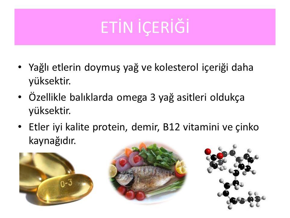 ETİN İÇERİĞİ Yağlı etlerin doymuş yağ ve kolesterol içeriği daha yüksektir. Özellikle balıklarda omega 3 yağ asitleri oldukça yüksektir. Etler iyi kal