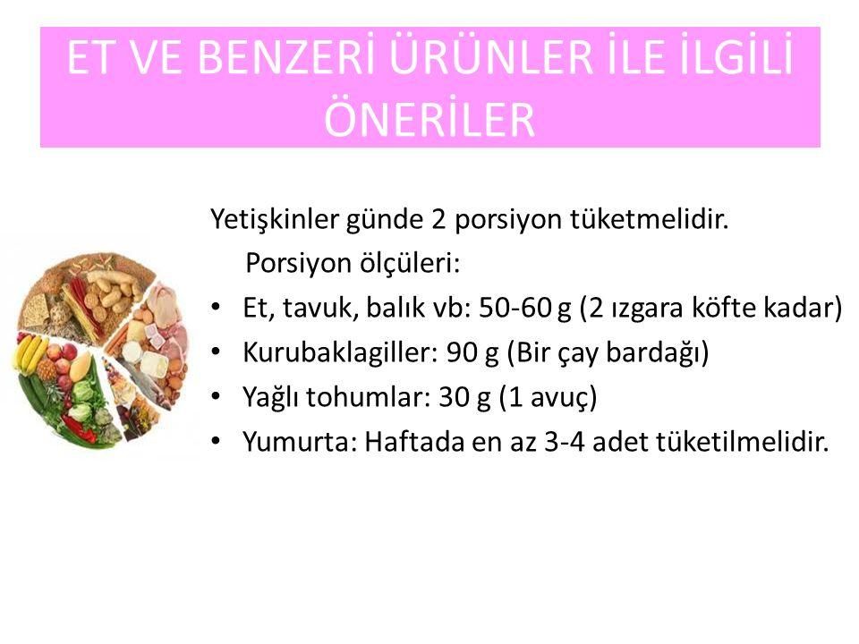 ET VE BENZERİ ÜRÜNLER İLE İLGİLİ ÖNERİLER Yetişkinler günde 2 porsiyon tüketmelidir. Porsiyon ölçüleri: Et, tavuk, balık vb: 50-60 g (2 ızgara köfte k