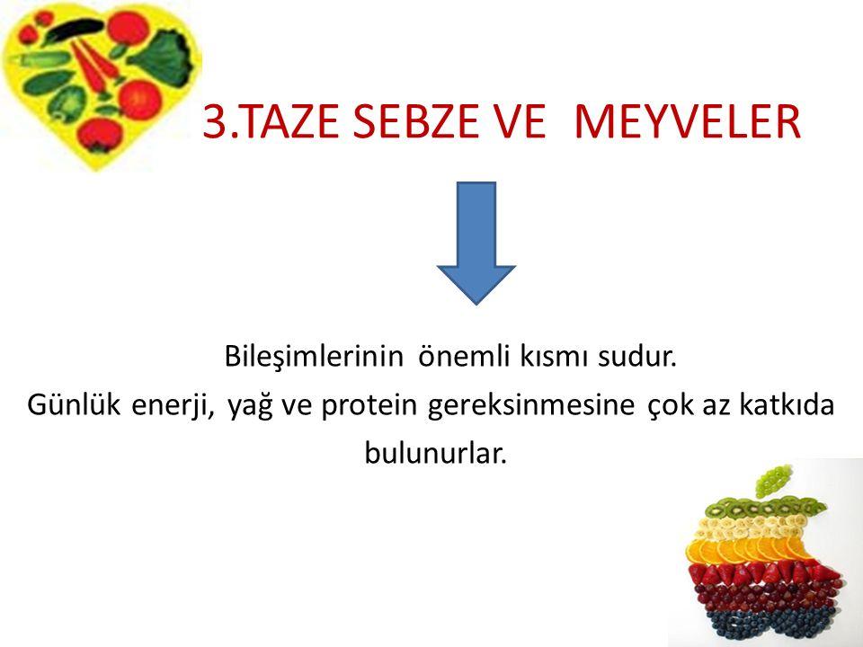 3.TAZE SEBZE VE MEYVELER Bileşimlerinin önemli kısmı sudur. Günlük enerji, yağ ve protein gereksinmesine çok az katkıda bulunurlar.