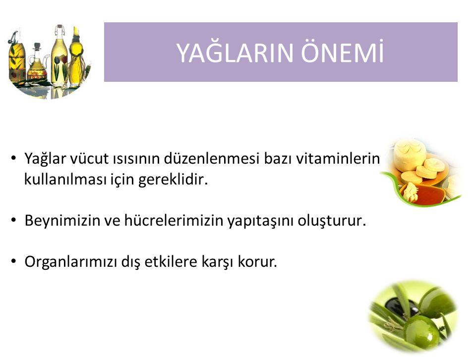 Yağlar vücut ısısının düzenlenmesi bazı vitaminlerin kullanılması için gereklidir. Beynimizin ve hücrelerimizin yapıtaşını oluşturur. Organlarımızı dı