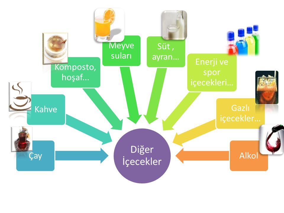 Diğer İçecekler ÇayKahve Komposto, hoşaf... Meyve suları Süt, ayran… Enerji ve spor içecekleri… Gazlı içecekler… Alkol