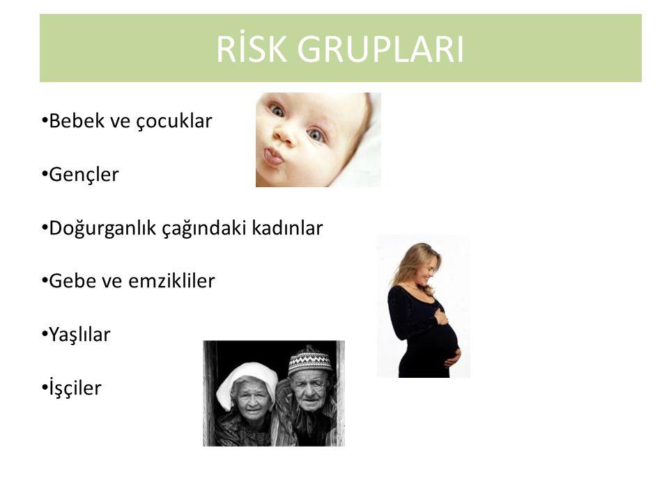 RİSK GRUPLARI Bebek ve çocuklar Gençler Doğurganlık çağındaki kadınlar Gebe ve emzikliler Yaşlılar İşçiler