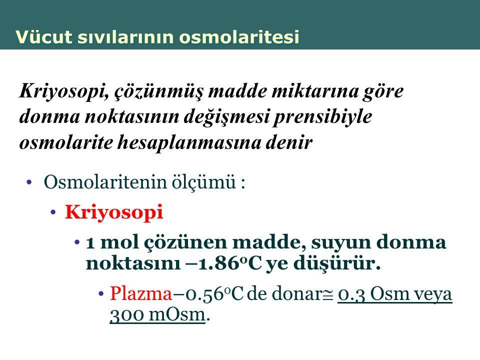 Copyright © 2004 Pearson Education, Inc., publishing as Benjamin Cummings Vücut sıvılarının osmolaritesi Osmolaritenin ölçümü : Kriyosopi 1 mol çözünen madde, suyun donma noktasını –1.86 o C ye düşürür.