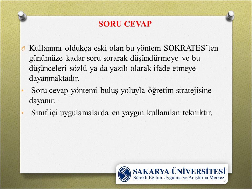 SORU CEVAP O Kullanımı oldukça eski olan bu yöntem SOKRATES'ten günümüze kadar soru sorarak düşündürmeye ve bu düşünceleri sözlü ya da yazılı olarak i