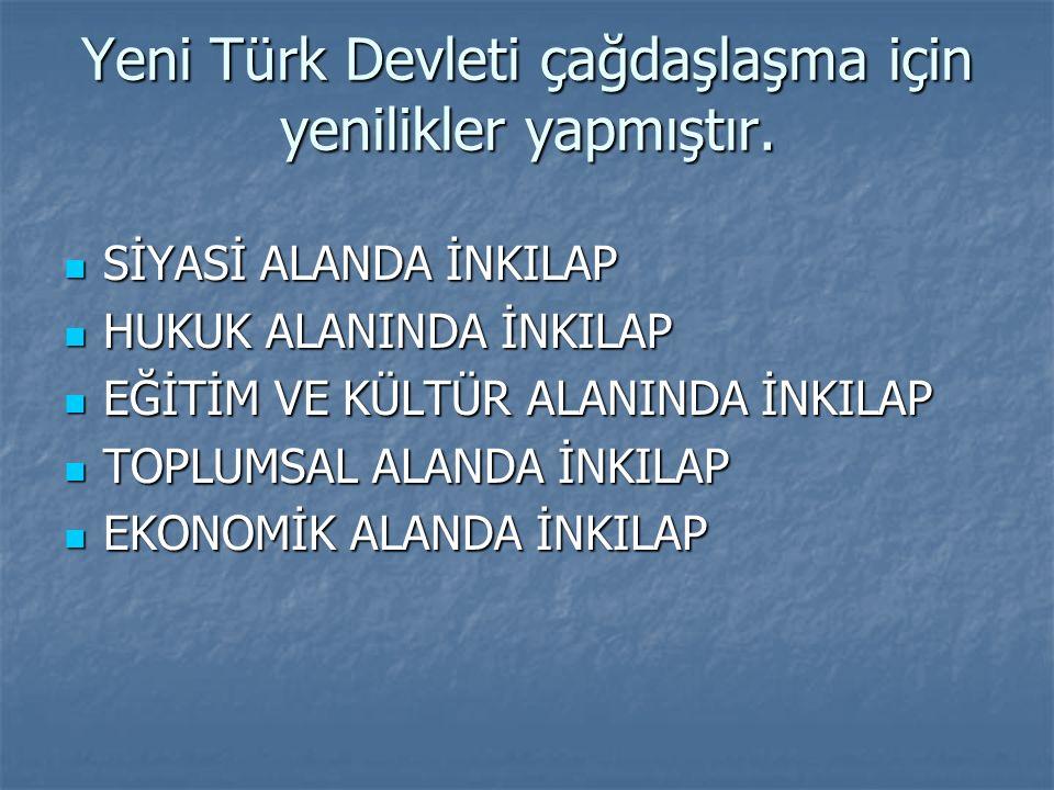 Yeni Türk Devleti çağdaşlaşma için yenilikler yapmıştır. Yeni Türk Devleti çağdaşlaşma için yenilikler yapmıştır. SİYASİ ALANDA İNKILAP SİYASİ ALANDA