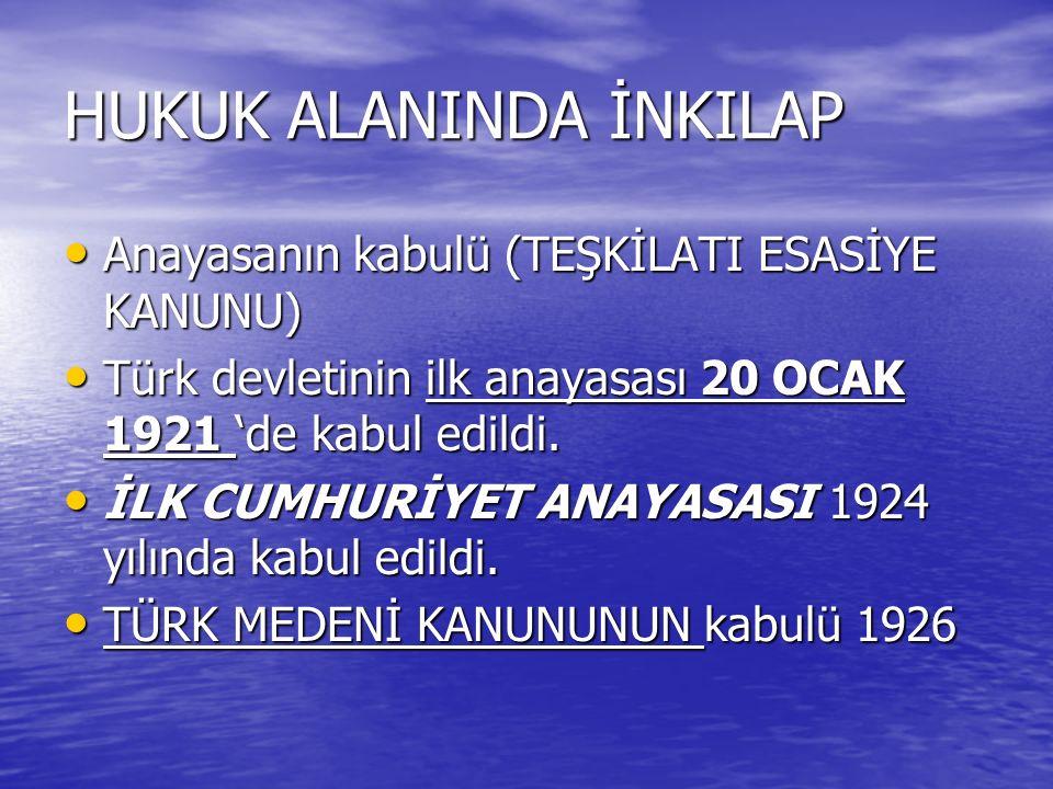 HUKUK ALANINDA İNKILAP Anayasanın kabulü (TEŞKİLATI ESASİYE KANUNU) Anayasanın kabulü (TEŞKİLATI ESASİYE KANUNU) Türk devletinin ilk anayasası 20 OCAK