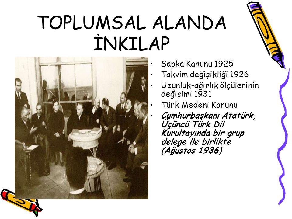 TOPLUMSAL ALANDA İNKILAP Şapka Kanunu 1925 Takvim değişikliği 1926 Uzunluk-ağırlık ölçülerinin değişimi 1931 Türk Medeni Kanunu Cumhurbaşkanı Atatürk,
