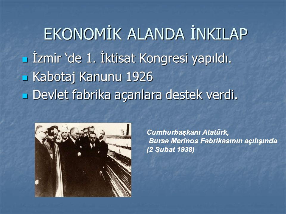 EKONOMİK ALANDA İNKILAP EKONOMİK ALANDA İNKILAP İzmir 'de 1. İktisat Kongresi yapıldı. İzmir 'de 1. İktisat Kongresi yapıldı. Kabotaj Kanunu 1926 Kabo