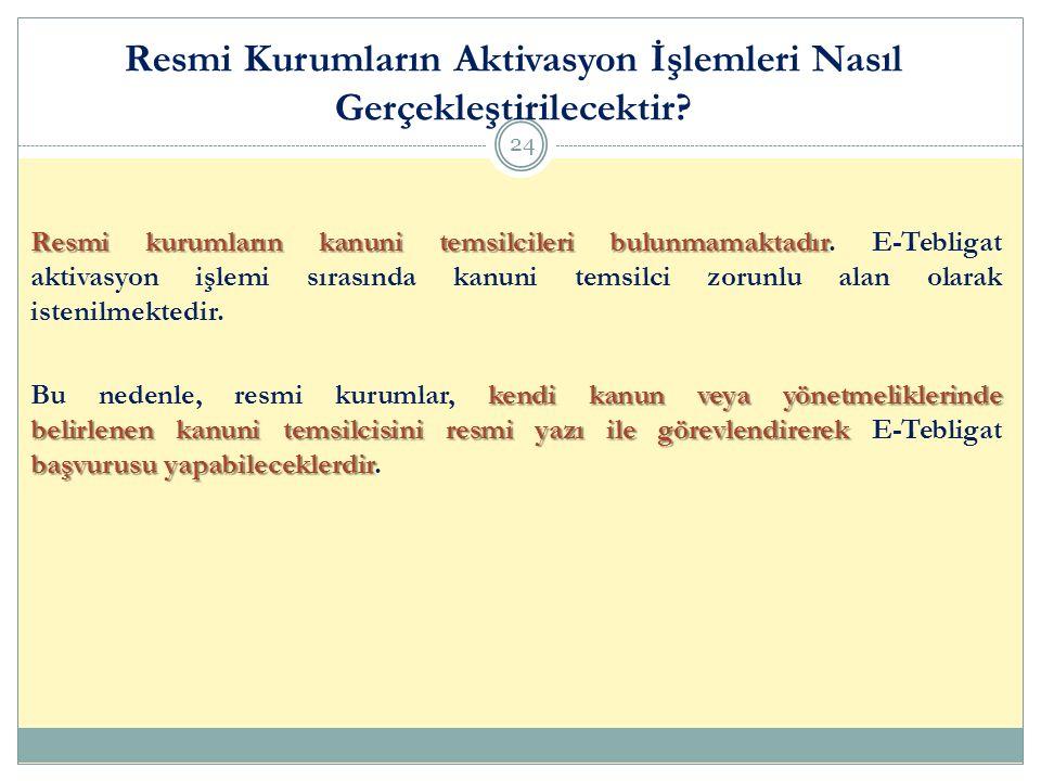 Resmi Kurumların Aktivasyon İşlemleri Nasıl Gerçekleştirilecektir? 24 Resmi kurumların kanuni temsilcileri bulunmamaktadır Resmi kurumların kanuni tem