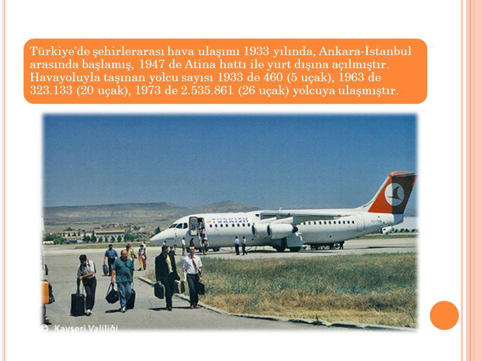 Türkiye'de şehirlerarası hava ulaşımı 1933 yılında, Ankara-İstanbul arasında başlamış, 1947 de Atina hattı ile yurt dışına açılmıştır. Havayoluyla taş