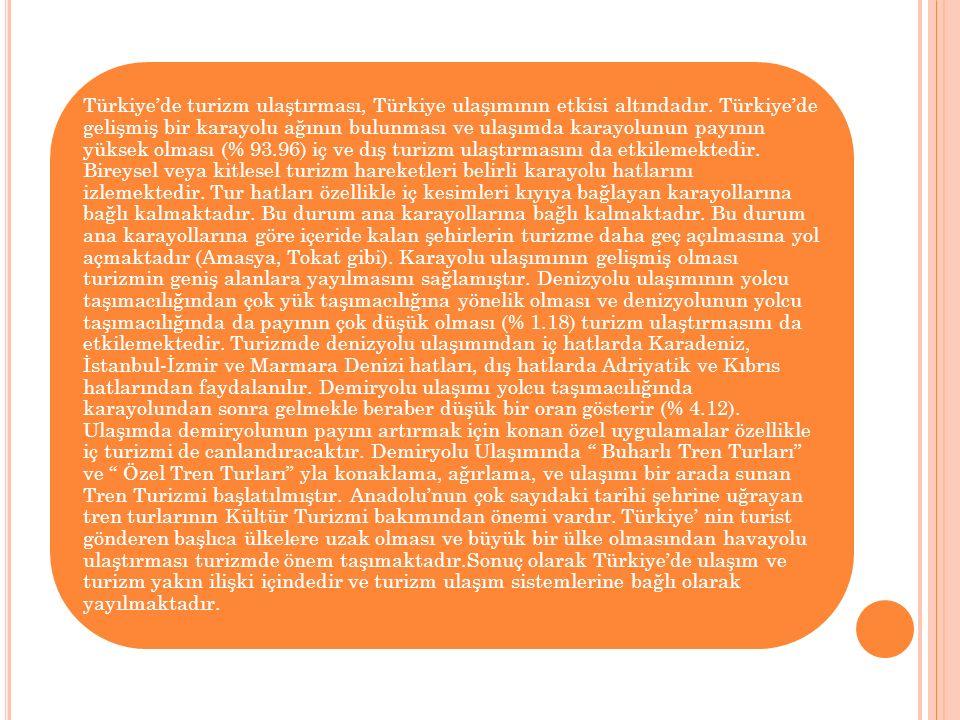 Türkiye'de turizm ulaştırması, Türkiye ulaşımının etkisi altındadır. Türkiye'de gelişmiş bir karayolu ağının bulunması ve ulaşımda karayolunun payının