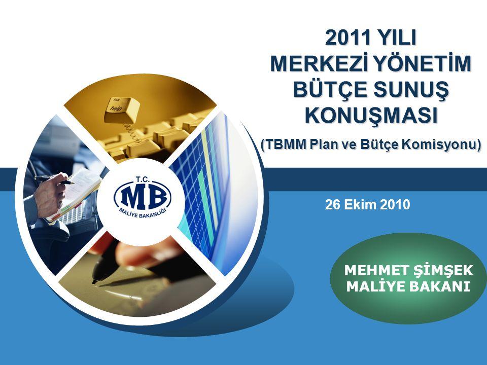 2011 YILI MERKEZİ YÖNETİM BÜTÇE SUNUŞ KONUŞMASI (TBMM Plan ve Bütçe Komisyonu) MEHMET ŞİMŞEK MALİYE BAKANI 26 Ekim 2010