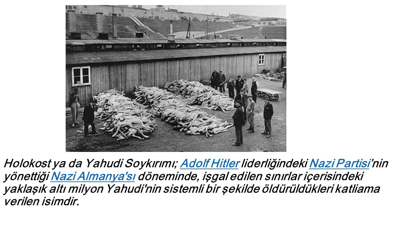 Holokost ya da Yahudi Soykırımı; Adolf Hitler liderliğindeki Nazi Partisi'nin yönettiği Nazi Almanya sı döneminde, işgal edilen sınırlar içerisindeki yaklaşık altı milyon Yahudi nin sistemli bir şekilde öldürüldükleri katliama verilen isimdir.Adolf HitlerNazi PartisiNazi Almanya sı