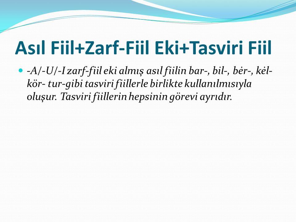 Asıl Fiil+Zarf-Fiil Eki+Tasviri Fiil -A/-U/-I zarf-fiil eki almış asıl fiilin bar-, bil-, bėr-, kėl- kör- tur-gibi tasviri fiillerle birlikte kullanıl