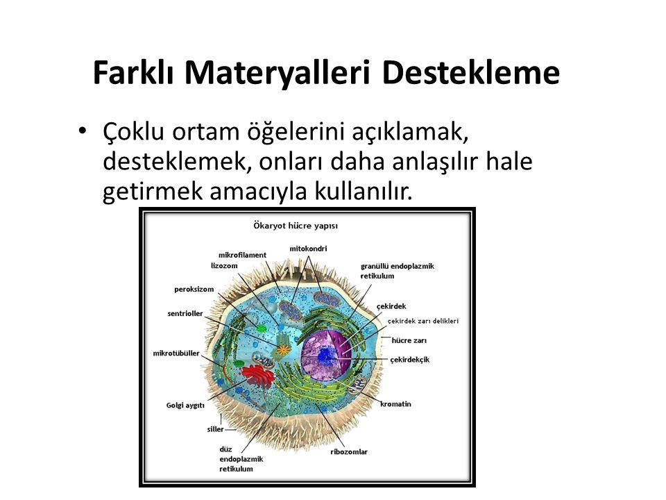 Farklı Materyalleri Destekleme Çoklu ortam öğelerini açıklamak, desteklemek, onları daha anlaşılır hale getirmek amacıyla kullanılır.