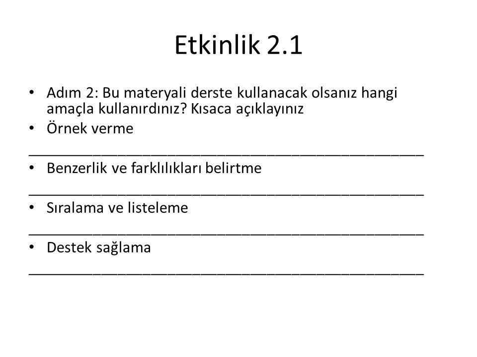Etkinlik 2.1 Adım 2: Bu materyali derste kullanacak olsanız hangi amaçla kullanırdınız.