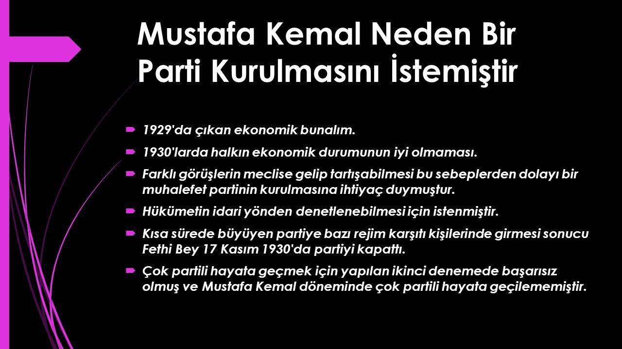 Mustafa Kemal Neden Bir Parti Kurulmasını İstemiştir  1929'da çıkan ekonomik bunalım.  1930'larda halkın ekonomik durumunun iyi olmaması.  Farklı g