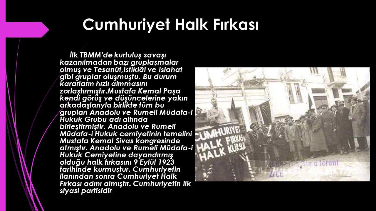 Cumhuriyet Halk Fırkası İlk TBMM'de kurtuluş savaşı kazanılmadan bazı gruplaşmalar olmuş ve Tesanüt,İstiklâl ve Islahat gibi gruplar oluşmuştu. Bu dur