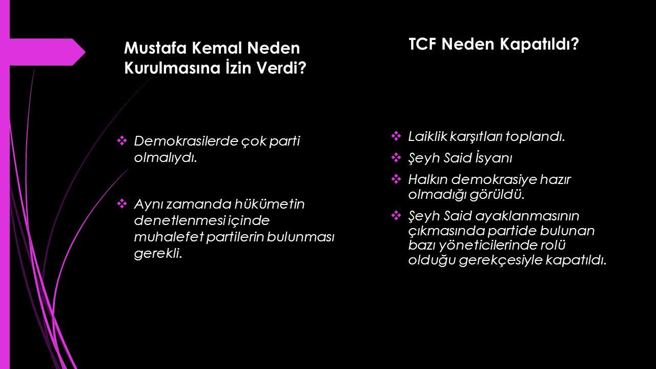 Mustafa Kemal Neden Kurulmasına İzin Verdi?  Demokrasilerde çok parti olmalıydı.  Aynı zamanda hükümetin denetlenmesi içinde muhalefet partilerin bu