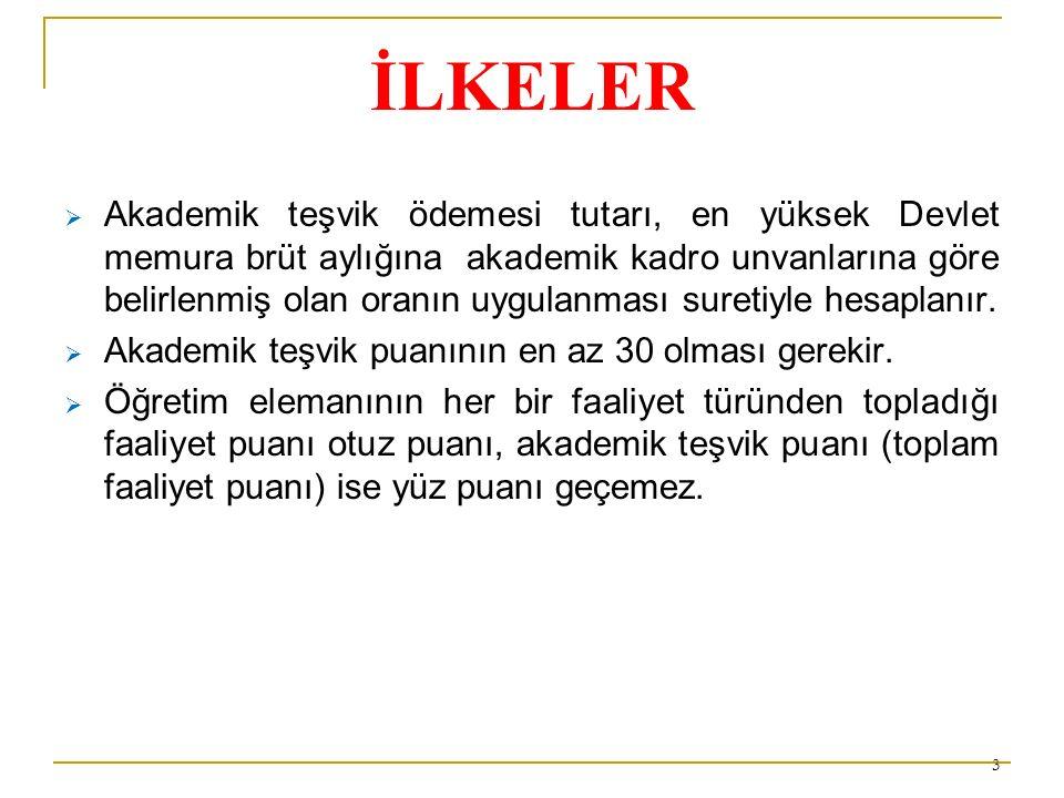 İLKELER  2914 sayılı Kanun ve 926 sayılı Türk Silahlı Kuvvetleri Personel Kanunu uyarınca aylık ödendiği sürece ödenir,  Kadrolarının bulunduğu yükseköğretim kurumları tarafından şubat ayının on beşinden itibaren oniki ay süreyle ödenir,  Her ayın onbeşinde ödenir,  Damga vergisi hariç herhangi bir vergiye tabi tutulmaz,  İlgili mevzuatı uyarınca ödenmekte olan zam, tazminat, ödenek, döner sermaye ek ödemesi, ikramiye, ücret ve her ne ad altında olursa olsun yapılan benzeri ödemelerin hesabında dikkate alınmaz.