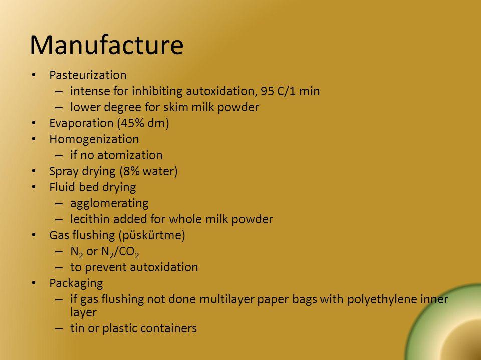 Manufacture Pasteurization – intense for inhibiting autoxidation, 95 C/1 min – lower degree for skim milk powder Evaporation (45% dm) Homogenization –