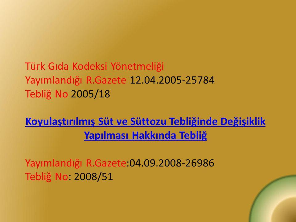 Türk Gıda Kodeksi Yönetmeliği Yayımlandığı R.Gazete 12.04.2005-25784 Tebliğ No 2005/18 Koyulaştırılmış Süt ve Süttozu Tebliğinde Değişiklik Yapılması