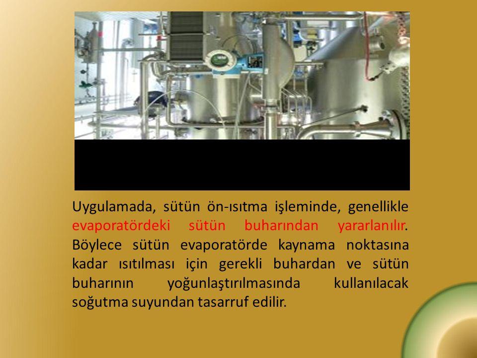 Uygulamada, sütün ön-ısıtma işleminde, genellikle evaporatördeki sütün buharından yararlanılır. Böylece sütün evaporatörde kaynama noktasına kadar ısı